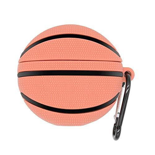 MI-KOU Silicone Hülle Schutzhülle Kompatibel mit AirPods 2und1(2019),[Unterstützt das kabellose Laden] [Stoßfeste Schutzhülle] Hülle [Karabiner] Niedlicher 3D Muster Basketball
