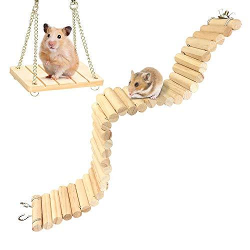 Hamiledyi Hamster Bridge Suspension Ladder Wooden...