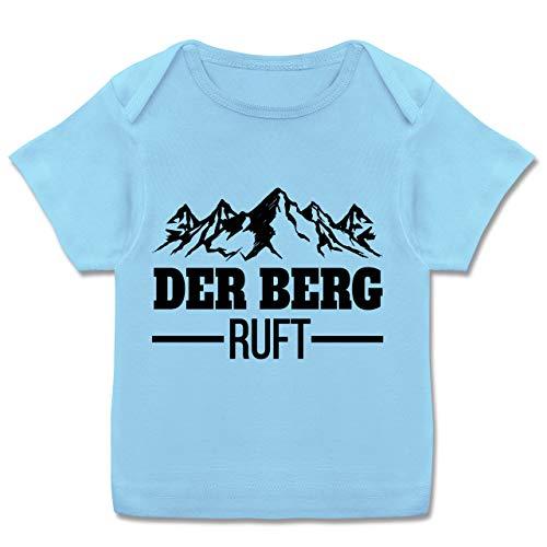 Sport Baby - Der Berg Ruft - schwarz - 56-62 - Babyblau - Baby+Shirt+Kurzarm+Junge - E110B - Kurzarm Baby-Shirt für Jungen und Mädchen