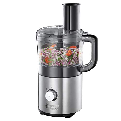 Russell Hobbs Mini-Küchenmaschine Compact, platzsparendes Design, 1.2l spülmaschinenfeste Rührschüssel, Edelstahlscheibe (Schneiden&Raspeln), Zerkleinerer, kompakter Food Processor 25280-56