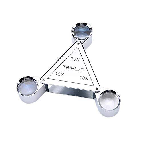 LIXHGJ Lupas Mini Joyería portátil Lupa Identificación de Diamante HD10X 15X 20X Espejo de Aumento para Libro de Hombre Viejo Lectura Identificación de joyería Artesanía Talla y reparación Plata