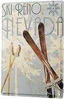 Not Applicable Tin Sign XXL Nostalgic Ski Poles Reno Nevada 8x12inch Metal Tin Sign Decor Iron Painting