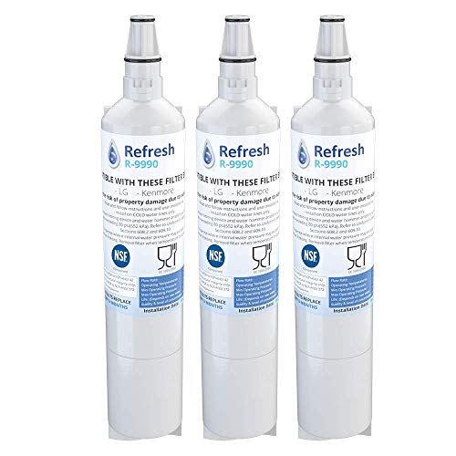 Refresh Replacement for LG 5231JA2006A, 5231JA2006B, LT600, LT600P also fits Kenmore 46-9990, 9990, 469990 Refrigerator Water Filter (3 Pack)