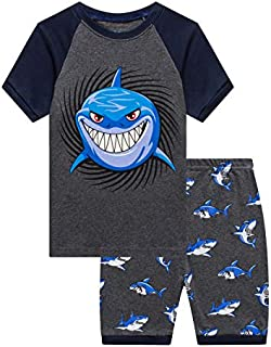Image of Cotton Smiling Shark Short Pajamas for Boys and Toddlers - See More Prints