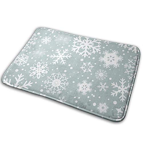 WXM Alfombra de baño para puerta de baño, diseño de copo de nieve, azul celestial, espuma de memoria frontal, alfombra de cocina para el pasillo de cocina interior al aire libre 19,5 x 80 cm