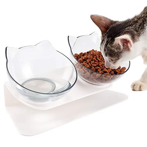 Comedero Gato con Soporte Elevado, 15° Inclinado Antideslizante, Protege las Mascotas Vértebra...