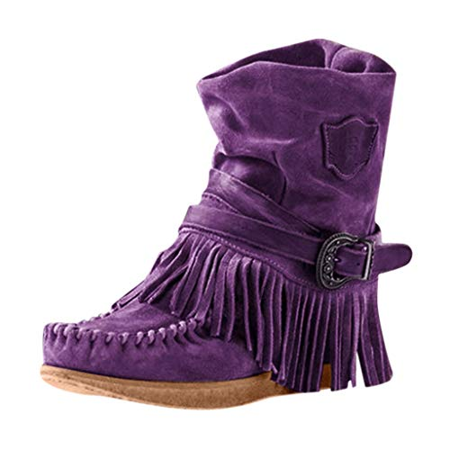 Toimothcn Womens Cowboy Bootie Round Toe Low Heel Faux Suede Western Fringe Mid-Calf Boot Shoes(Purple,5)