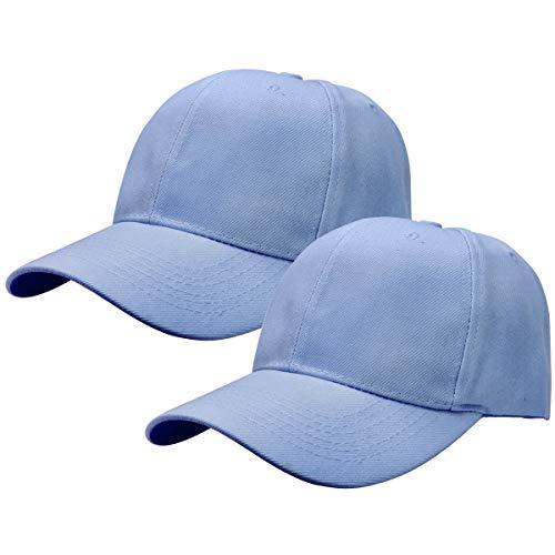 2pcs Baseball Cap for Men Women Adjustable Size Perfect for Outdoor Activities Sky Blue/Sky Blue