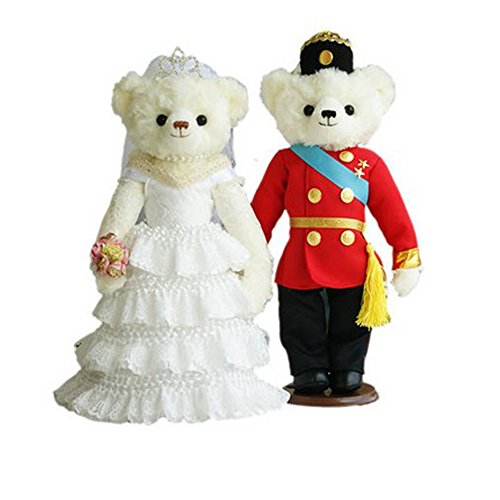 Lovely Mariage Ours mignon nounours Cadeau de mariage (Blanc en dentelle Voile/rouge uniforme)