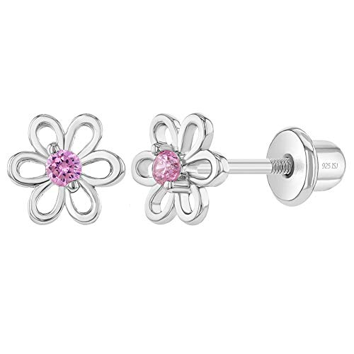 925 Sterling Silver 6mm Adorable Pink Flower Cubic Zirconia Girl's Screw Back Earrings Studs with Lock Earrings Perfect for Toddlers, Little girls & Pre-Teens Hypoallergenic for Sensitive Skins