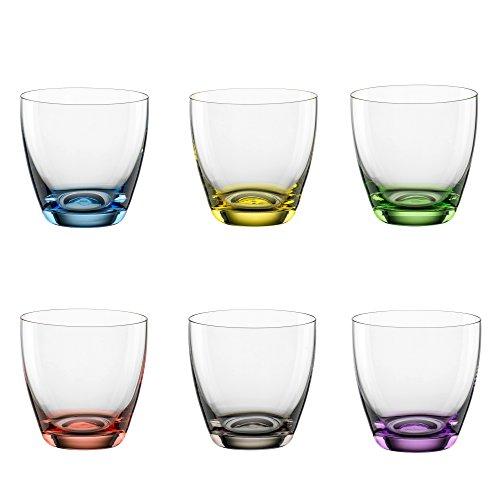 Bohemia Cristal 093 006 165 Viva Colori Lot de 6 gobelets en verre cristal avec fond coloré bleu, jaune, vert, rouge, gris fumé, violet Env. 300 ml
