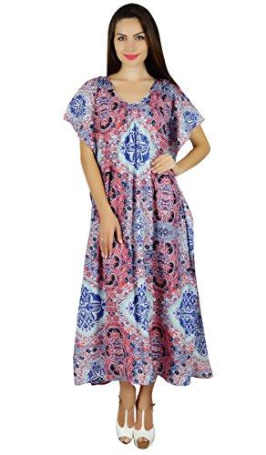 Bimba Les à Long imprimé Maxi Caftan Coton vêtements de Nuit Robe Caftan