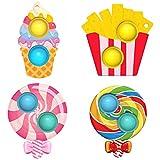 4 Pcs Mini Pop Fidget Simple Dimple Toy,Mini Push Pop Fidget Toy Keychain,Silicona Sensorial Fidget Juguete,Autismo Necesidades Especiales Aliviador del Antiestrés del Juguetes para Niños