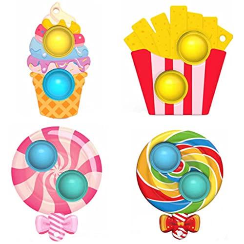 4 Pcs Mini Pop Fidget Simple Dimple Toy,Mini Push Pop Fidget Toy Keychain,Mini Rainbow Tie dye Bubble Wrap Sensory Toy, Autism Needs Stress Reliever Tactile Logic Game for Kids