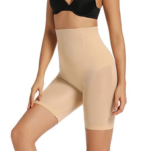 Joyshaper Damen Miederhose Bauch Weg Stark Formend Nahtlose Miederpants Body Shaper mit Bein Hohe Taille Shaping Unterwäsche (Beige-1, Large)