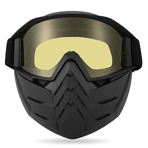 Lixada Motos Gafas UVA400 Protección Invierno Esquí Gafas de Montar Patinaje Gafas Deportivas con Máscara Desmontable