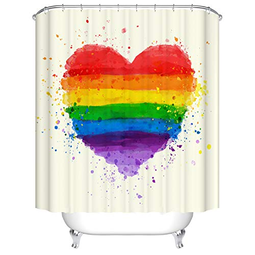 Doduo Colorful Rainbow Love Heart Bathroom Curtain Waterproof Fabric Polyester Set with Hooks (72''Wx72''H)