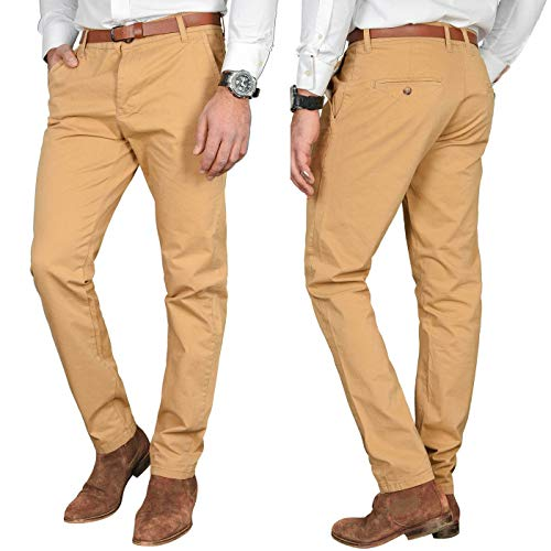 A. Salvarini Herren Designer Business Chino Hose Chinohose Regular Fit AS-095 [AS-095 - Beige - W36 L32]