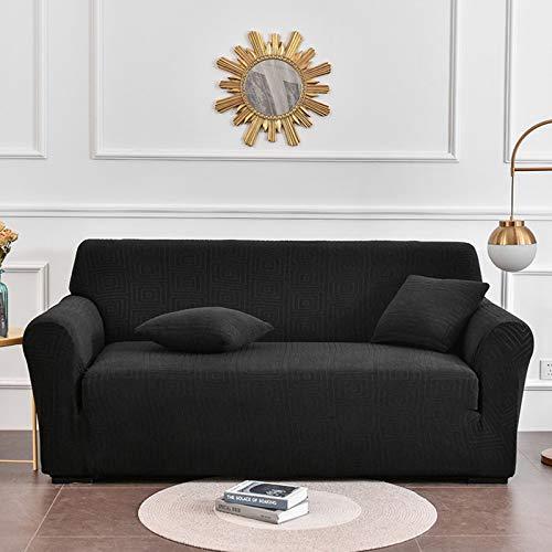 Vintage Funda Sofa Ajustables Para Salon,Terciopelo Chaise Longue Funda Sofá Para Todo Tipo De Couch Y Todas Las Estaciones,Elásticaidad Elástica Protector De Muebles-Negro 4 seaters 235~300cm(93~118i