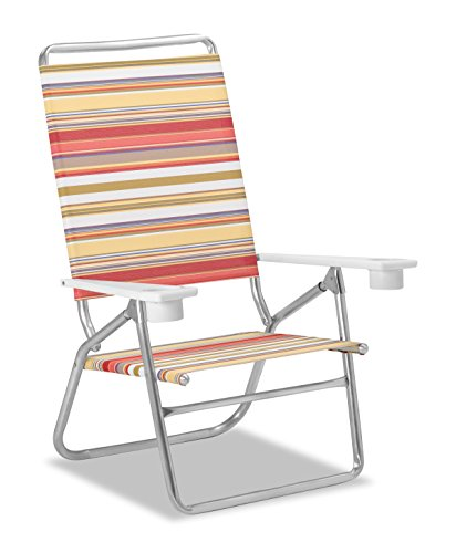 Telescope Casual Striped Light and Easy High Boy Anodized Sliver Finish Fiesta Chaise (2 Pack), Multicolor