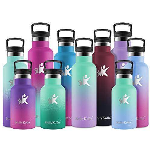 KollyKolla Botella de Agua Acero Inoxidable, Termo Sin BPA Ecológica Reutilizable, Botella Termica con Pajita y Filtro, para Niños & Adultos, Deporte, Oficina (350ml Macaron Verde + Púrpur