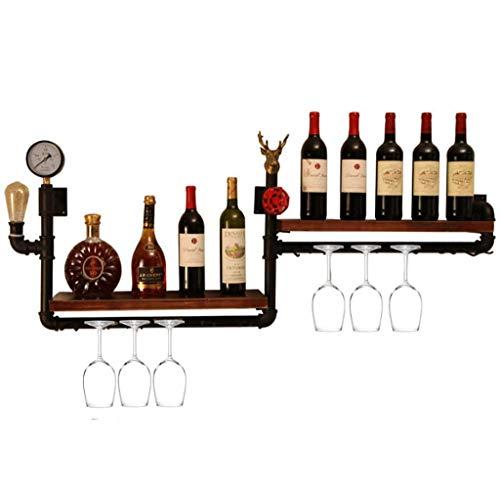 YAeele Estante del Vino, tubería de Hierro Forjado altillo de Madera Maciza Pared Estante del Vino Vino Colgando Cremallera, Soporte de exhibición