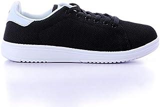 Starter Nylon-Mesh Contrast Leather Heel-Tab Unisex Walking Shoes - Black & White, 44