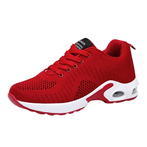 Luckhome Damen Sneaker Herren Sneaker Schuhe Schuhe Damen Laufband Fitness Damenschuhe Art- und Weisedamen Breathable rutschfeste Kissen-Turnschuh-beiläufige laufende Schuhe(rot,EU:41)
