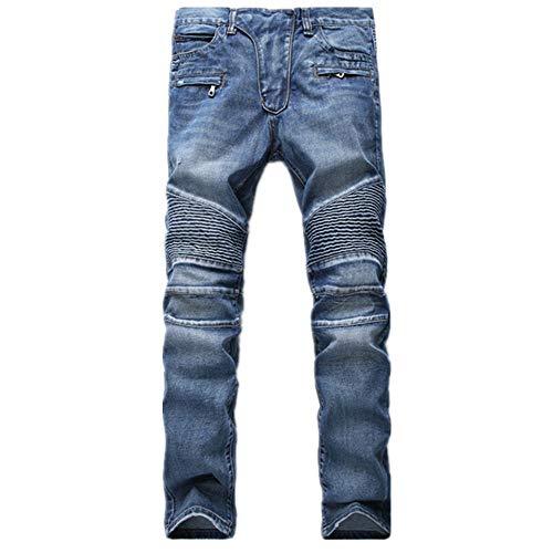 N\P Hombres Skinny Biker Jeans Rectos Masculinos Moto Denim Pantalones Joggers
