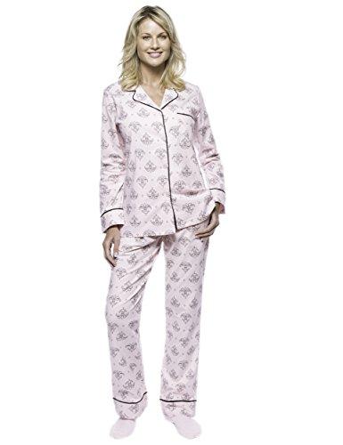 Noble Mount Women Pajamas Set - 100% Cotton Flannel Pajamas - Fleur Pink/Black - X-Large