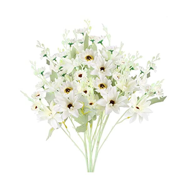 XHXSTORE Artificial Silk Daisy Flowers White Gerbera Faux Flowers Decor Outdoor for DIY Office Home Table Vase Garden Fake Daisy Bouquet Flower for Wedding Party Living Room Farmhouse Grave 3Pcs