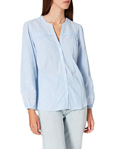 Springfield Blusa Estampada Puños Bordados Camisa, Azul Claro, 44 para Mujer
