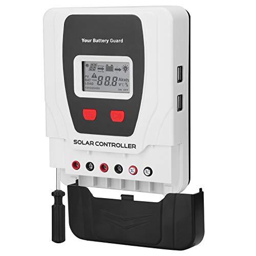 Hugoome Regulador de carga solar 30 A, compatible con baterías de gel sellado Li, cubierta deslizante oculta el terminal y cables desordenados, destornillador integrado