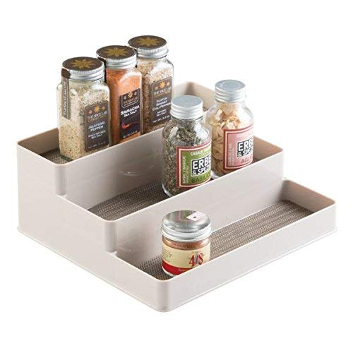 mDesign Especiero para cocina - Práctico mueble para especias - Estantería para condimentos - Para gabinete o mesa - En tres niveles - Color: champaña