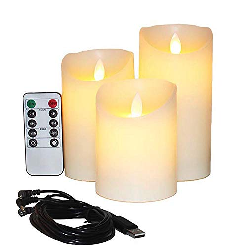 Flameless Candles Electric with Rechargeable Battery Autbye 2021 Advanced Edition Extra Bright Ivory Dripless Real Wax Pillars LED Smart Candle Flickering with 10-Key Remote Control (3 Pack)