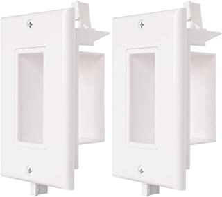 Cable Wall Plate 2 Pack Decotive Recessed Wall Plate with Easy Mount Wings Side Opening for Low Voltage Cable Wall Plate WI1010-2