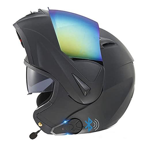 Bluetooth Casco Moto Modular, Cascos Flip Up Motocicleta, ECE Aprobado,Doble Visera Anti Niebla,Radio FM Incorporada, Función De Intercomunicador, Dispositivo De Conexión Bluetooth