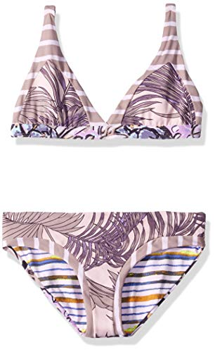 Maaji Girls' Little Long Line Fixed Triangle with Tie Back Bikini Swimsuit Set, Car Naval Do Rio Purple Palm, 16