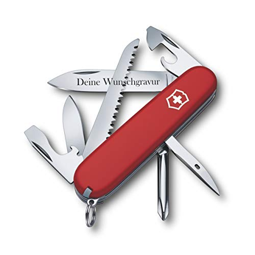 Victorinox Taschenmesser Hiker mit Wunsch Gravur auf der Klinge I Geschenk für Männer Frauen I zum Geburtstag I Schweizer Taschenmesser personalisiert mit 13 Funktionen 1.4613
