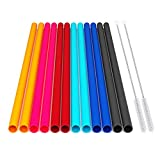 12 Pcs Eco Friendly Silicone Straws with 2 cleaning Brushes,Reusable Silicone Drinking Straws,for 30oz and 20oz Tumblers,Yeti, Ozark, (Pure Multicolor, 10 inches)