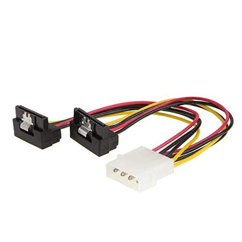 CableCreation Molex auf SATA Stromkabel (6 Zoll / 15,2 cm) Molex 4 Pin auf 2 x SATA 15 Pin nach unten gewinkelt weiblich