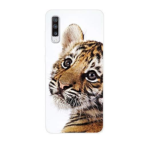 Kompatibel mit Galaxy A50 Hülle TPU Silikon Bunt Schutzhülle,[Transparen Karikatur Silikonhülle] Hülle Gemalt,Ultra Slim Durchsichtig mit Muster Bumper Stoßfest Hülle,Kleiner Tiger