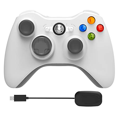 Xbox 360 Wireless Controller,2.4GHz Game Controller with Receiver Remote Gamepad Joystick for Xbox 360 &Slim Most PC with Win 7/8/10 (White)