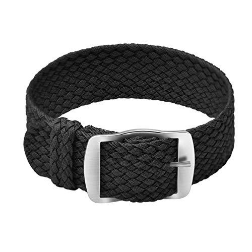 ULLCHRO Unisex Perlon Nylon Armband mit Edelstahl Silberne Schnalle 18mm Schwarz