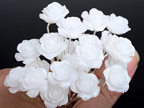 AKOAK 20 Pcs Bridal Wedding Hair Pins, White Rose Flower Hair Pins
