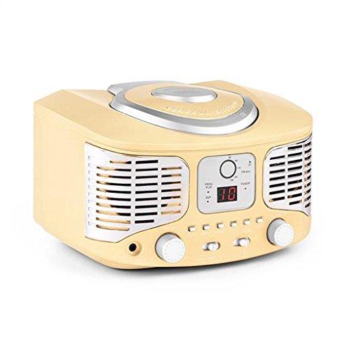 auna RCD320 - CD-Radio, Nostalgie Stereoanlage, Küchenradio, Vintage Look, CD-Player, UKW Radio, AUX-Eingang, Digital-Anzeige, einfache Wiedergabeprogrammierung, tragbar, Creme