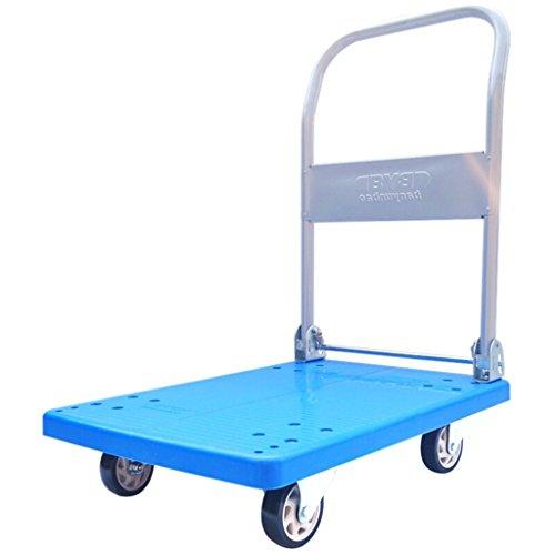 Wagen Laufkatze/faltender Laufkatze PVC-vierrädriger Pull-LKW-Handkarre-Blau-Flachbett-Plastikvan-Werkzeug-Wagen-Last 150KG (Farbe : Blue)