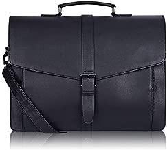 Estarer Men's Leather Briefcase for Travel/Office/ Business 15.6 Inch Laptop Messenger Bag
