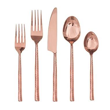 DAVID SHAW 922585 20 Piece Quarry Flatware Set, Copper