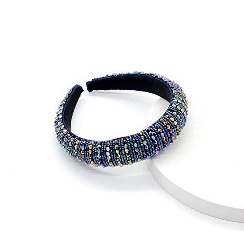 Diademas Turbante Diadema De Diamantes De Imitación Accesorio Para El Cabello De Cristal De Perlas Trenzadas-Azul De Colores